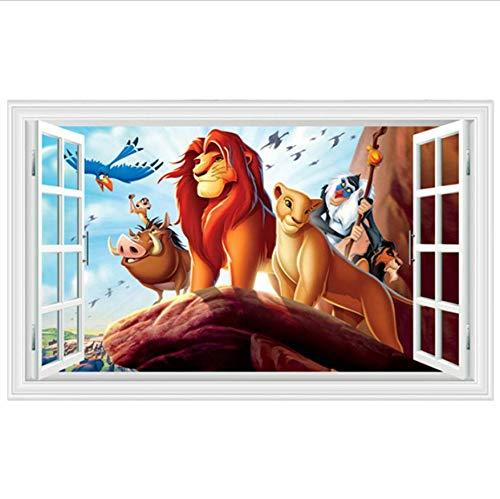 Etiqueta De La Pared Calcomanías De Pared De Dibujos Animados De León El Rey De Los Animales Falso 3D Ventana Vinilo Pegatinas Niños Habitación Decoración Película Cartel