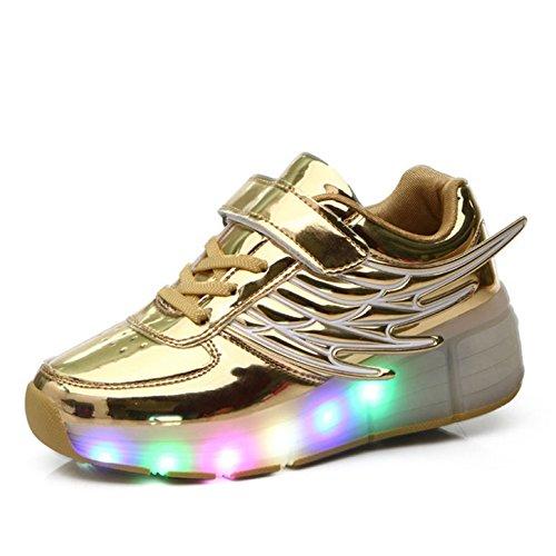 Kinder Schuhe mit Rollen Skateboardschuhe mit Rollen Roller Skate Schuhe Skateboard Schuhe Sneakers Turschuhe Laufschuhe Sportschuhe mit Rollen für Mädchen Jungen Gold 31