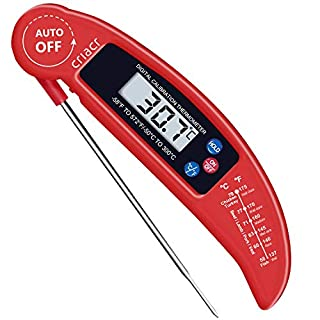 Criacr Food Thermometer, Digital Instant Read Candy/Meat Thermometer with Probe for Kitchen Cooking, BBQ, Poultry, Grill, Foldable, Fast & Auto On/Off, Battery Not Included