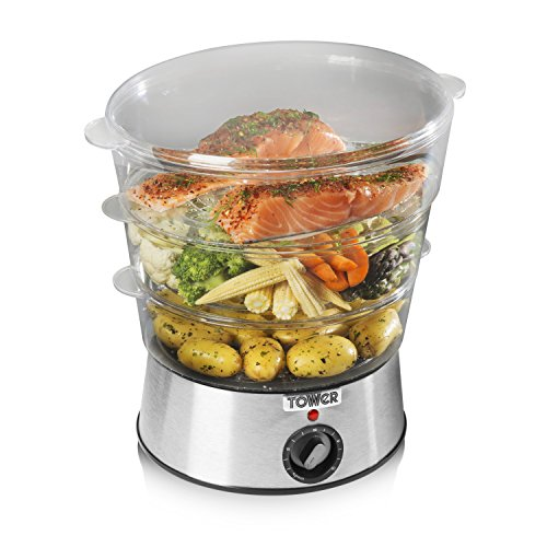 51V8gkhU0nL. SS500  - Tower T21001 Healthy Life, Compact Electric Food Steamer, 3-Tier 5 Litre Capacity with Stackable Baskets, 400 W, 60 Minute Timer, Auto Switch Off Function, Stainless Steel