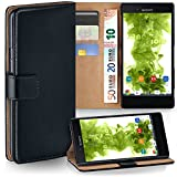 moex Sony Xperia X Compact | Hülle Schwarz mit Karten-Fach 360° Book Klapp-Hülle Handytasche Kunst-Leder Handyhülle für Sony Xperia X Compact/X Mini Case Flip Cover Schutzhülle Tasche