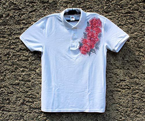 Verkauf!!!10% reduziert,HEISSER VERKAUF / weißes Polo-T-Shirt mit roten Rosen / handgemaltes Polo-T-Shirt / gemaltes Polo der Frauen / Rosen Blumen-Polo-T-Shirt / Strand-Hemd / Geschenk-Idee / Hemd Polo''Fruit des Webstuhls '/ Größe M 65 / 30.