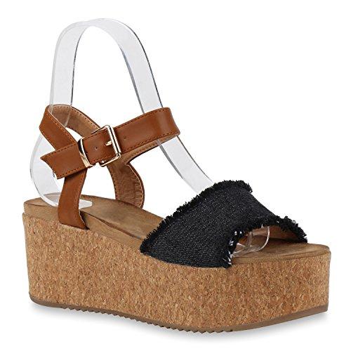 Damen Komfort-Sandalen | Lack-Optik Glitzer Metallic | Sommerschuhe | Plateau Sandalen Sandaletten | Kork Blumen Glitzer Schwarz Denim Used