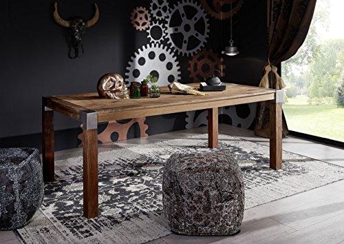 Table à manger 240x100cm - Métal et Bois massif de manguier laqué - AMSTERDAM #17