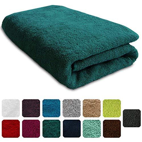 Lanudo® Luxus Duschtuch 600g/m² Pure Line 70x140 mit Bordüre. 100% feinste Frottier Baumwolle in höchster Qualität, Dusch-Handtuch, Badetuch, Badelaken. Farbe: Petrol