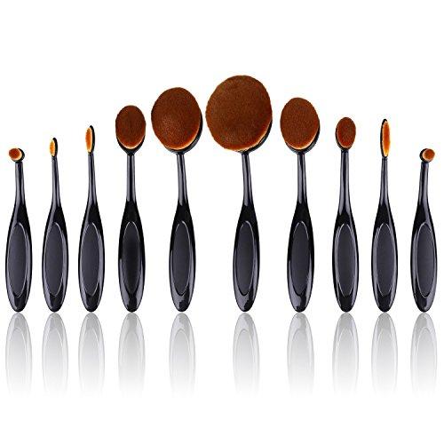 Vinallo Pinceaux Maquillage Professionnel 10 pièces ovale Lot de brosse de maquillage (fonctions Poudre, Correcteur, contour, fond de teint, Mixer, sourcils, et Eye Liner Pinceaux) souple ovale Brosse à dents Motif