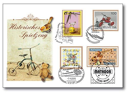 Preisvergleich Produktbild Europa 2015 | Historische Spielzeuge |Vier-Länder-Luxusbrief |Österreich |Schweiz |Luxemburg |Deutschland | Sonderbeleg |Sonderstempel |Essen |Vaduz | Bern |Wien | limitiert auf nur 420 Exemplare