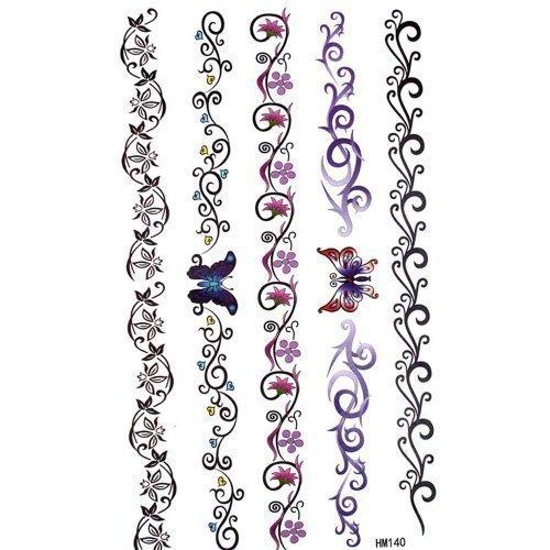 King Horse - Tatouages Personnalisé Temporaires Vigne Fleur Papillon Totem