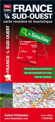 France 1/4 sud-ouest - Carte routière et touristique (échelle : 1/500 000)