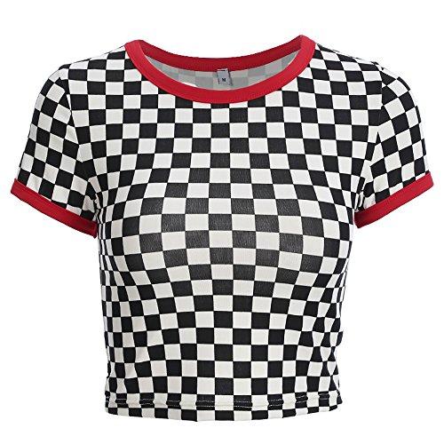 Frauen schwarz und weiß Karierten Checkerboard Oansatz Vogue T-Shirt Streetwear Femme T-Shirt (M)