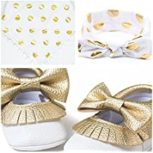 Bebedou Girl's Golden/White Matching Gift Bundle Pack 3 Pieces Headband, Shoes & Bib Accessories Gift Pack Occassion Party Gold Sparkly