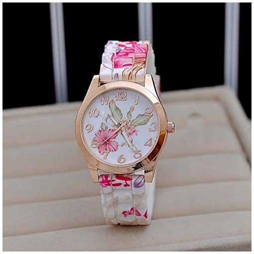 Tonsee Women Lady Dress Watch Silicone Printed Flower Causal Quartz Wristwatches Gift