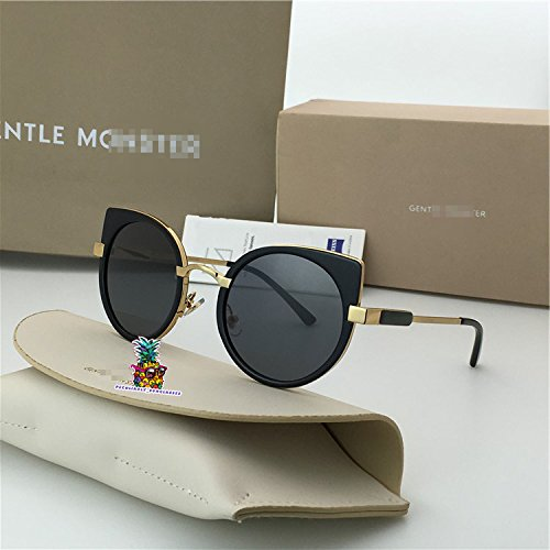 Fashion Vintage Unisex Cateye Frame New Gentle man Women Monster divinity Moooi Sunglasses - black silver xGy89P2b