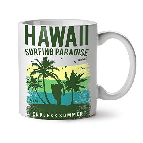 Wellcoda Hawaii Surfen Paradies Weiß Tee Kaffee Keramisch Becher 11 oz
