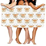 LINGVYTE Cute Deers Head Adult Soft Microfiber Printed Beach Towel Swimming,Surf,Gym,Spa 80cmx130cm/ 31x51 in,Highly Absorbent