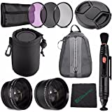 25mm 2x Telephoto Lens With Pouch + 25mm Wide Angle Lens + 25mm 3 Piece Filter Set (UV, CPL, FL) + LENS CAP 25MM + SLR Lens Pouch + Lens Pen Cleaner + Cleaning Cloth + Camera Backpack Case Bundle
