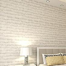 Cremeweiß 3D Vliesstoffe Schlafzimmer Wohnzimmer TV Hintergrund Wandgemälde  Schallabsorption Schallschutz Mode Minimalistischen Stil 0.53Mx 10M