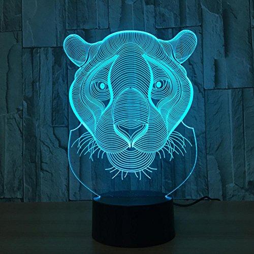 Optische Täuschung Lampen Nachtlicht, 7 Farben Touch Art Skulptur Lichter mit USB Kabel Schlafzimmer Schreibtisch Tischdekoration Lampe für Kinder Erwachsene, Lion (Lions Den Erwachsenen)