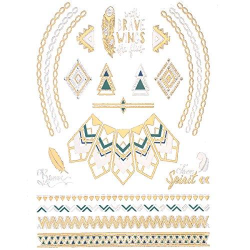 Jewelrywe Oro e Argento Foil Gioielli Tatuaggio Temporaneo Tattoo Geometry Necklace