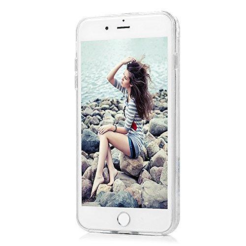 """Badalink Coque pour iPhone 7 Plus (5.5""""), Bling Case Housse de Dégradé de Couleur avec Poudre de Paillettes Coque TPU + PC Silicone Caoutchouc Housse Souple de Protection Etui Flexible Housse Ultra Mi Kiss Me"""