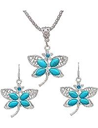 1db9905462d6 Juego de joyas de pendiente de libelula - SODIAL(R) Juego de joyas de  aretes collar de pendiente de libelula de…
