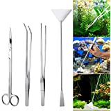 UEETEK 4PCS Acier inoxydable Aquarium Tank Aquatic Plant Tweezers and Scissors Spatula Tool Set