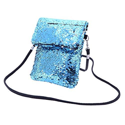 FENICAL Bolso doble del bolso de las lentejuelas bolso de hombro del mini bolso del bolso cuadrado (plata y azul)