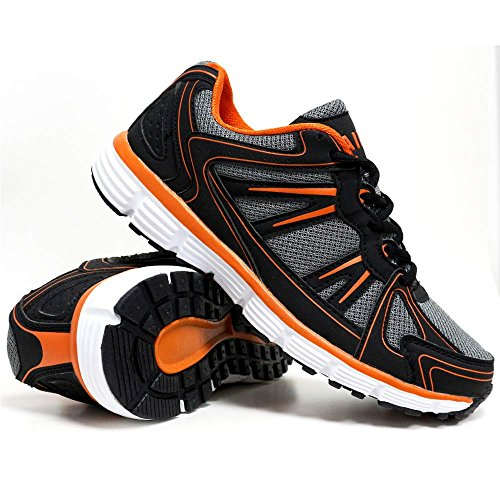 Mens Shock Absorbing Running Shoes Trainers Jogging Gym Walking Fitness Sports Trainer New Shoes (9 UK, S1 Black / Orange)