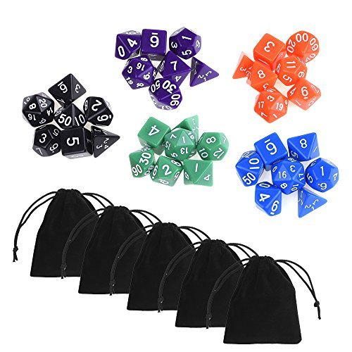 blulu-35-pieces-polyhedral-dice-in-5-complete-sets-with-5-pack-black-pouches-for-dungeons-and-dragon
