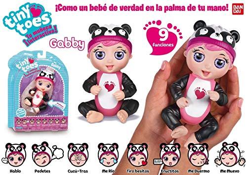 Bandai- MUÑECO Interactivo Tiny Toes Panda Cobra Vida EN LA Palma TU Mano, (56081)