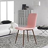4er Stuhl-Set Esszimmerstühle Coavas Stoff Kissen Küche Stühle mit Soliden Metall-beinen für Esszimmer, Rosa - 6