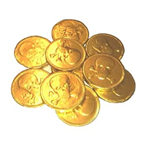 10 x Gold Foil Pirates Themed Milk Chocolate Coins Money Loot