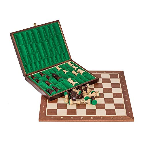 Square - Professional Wooden Chess No. 5 - Mahogany Lux - Chessboard + Figures - Staunton 5
