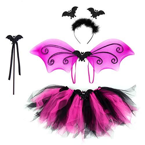 (Tinksky 4 STÜCKE Bat Kostüme Stirnband Wand Tutu Rock Set Winkel Mädchen Fee Kleid Outfit (Bat))