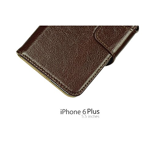 OBiDi - 100% Handmade Genuine Leather Flip Stand Case / Housse pour Apple iPhone 6 Plus / 6S Plus (5.5)Smartphone - Brun avec 3 Film de Protection Brun