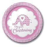Creative Party Pappteller zur Taufe, mit Elefanten-Design, Aufschrift On Your Christening, 8 Stück (Einheitsgröße) (Pink)