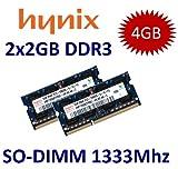 4GB Dual Channel Kit HYNIX Original 2 x 2 GB 204 pin DDR3-1333 SO-DIMM (1333Mhz, PC3-10600S, CL9) - Part# 2x HMT125S6TFR8C-H9 - passend für iMac Mid 2010 21.5