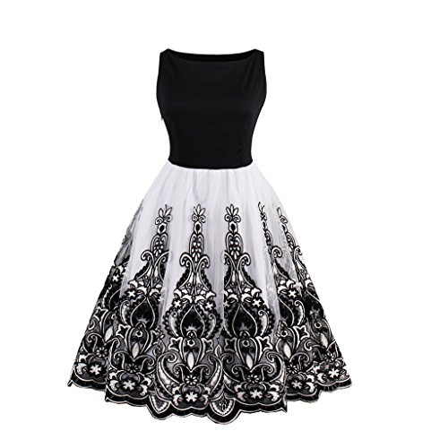 VERNASSA Damen Frauen Kurze Abendkleider Spitze Homecoming Kleider, Mädchen 50er Jahre Retro Prom Cocktail Party Kleid Brautjungfer Midi-Länge Kleider, Multicolor, S-XXXXL - Prom Cocktail