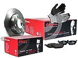 ORIGINAL BREMBO BREMSEN SET VORNE mit 2x Bremsscheiben Voll + 4x Bremsbelägen, inklusive Montagehandschuhe, Bremsensatz Scheibenbremse Bremsen Set, Bremskit, Bremsenkit