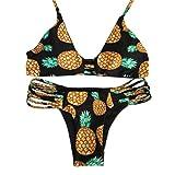 LHWY Alta Fruta de Cuello Halter Bikini Set Piña Patrón de Traje de Baño Bikini Sin Respaldo (L, Negro)