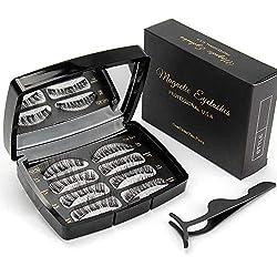 3D Magnetische Wimpern, Künstliche Wimpern Set, Wiederverwendbare Kunstfaser Künstliche Wimpern mit Magneten Kein Kleber Wimpernverlängerung für,8 Stücke(2 Paare)