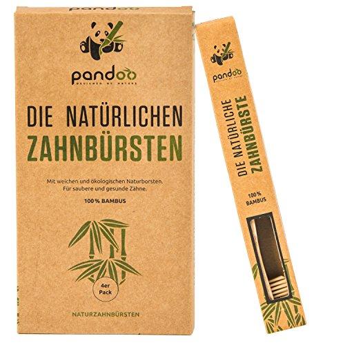 pandoo® ♻ 4er-Sparset umweltfreundliche Hand-Zahnbürste   Für Erwachsene und Kinder (Mittel - Weich)   Vegan, Bio, Holzfrei , 100% Plastik- und BPA Frei   Bamboo Toothbrush