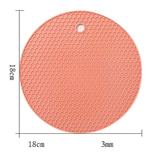 ZLDDE 4-er/8-er Set Runde Silikon Topf-Untersetzer hitzebeständig Hohe Qualität Dauerhaft rutschfest Haltbar Pflegeleicht farbliche Auswahl Pulver C/dünn 18x0.3cm Green Oval Dutch Oven