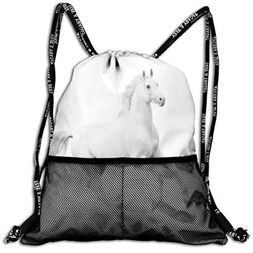 RAINNY Drawstring Backpacks Bags,White Stallion Running Horse Galloping Motion Speed Equestrian Print,5 Liter Capacity,Adjustable