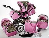 Chilly Kids iCaddy 3 en 1 Poussette combinée (siège auto, habillage pluie, moustiquaire, avec plateau pour la poussette canne, tapis à langer 49 couleurs) 15 rose & léopard