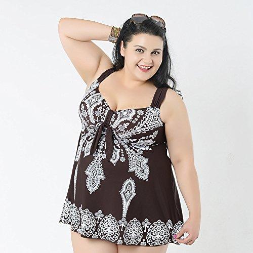 XL-übergewichtige Menschen kleiden einteilige Bikini-Badeanzug 64 braun
