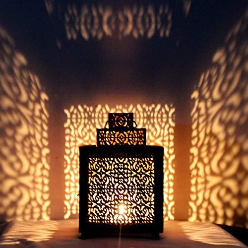 Farol Oriental de Metal Narjis, Color Negro, 25 cm, Estilo Oriental y marroquí, para Exterior o como Farol de jardín o Interior como Farol de Mesa