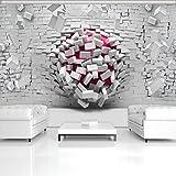 FORWALL Fototapete Vlies Tapete Moderne Wanddeko 3D Rote Kugeln und Ziegelwand V8 (368cm. x 254cm.) AMF3008V8