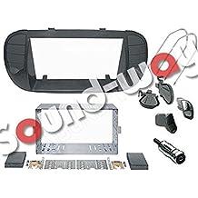 Kit de montaje Marco para radio adaptador autoradio para FIAT 500 negro mate 2 DIN