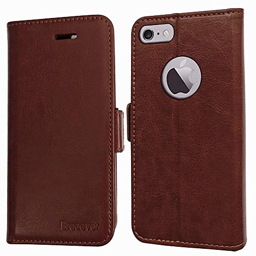 Aarnik Luxury Leather Premium Wallet Flip Cover Stand Case for Apple iPhone 6 / 6s – Brown
